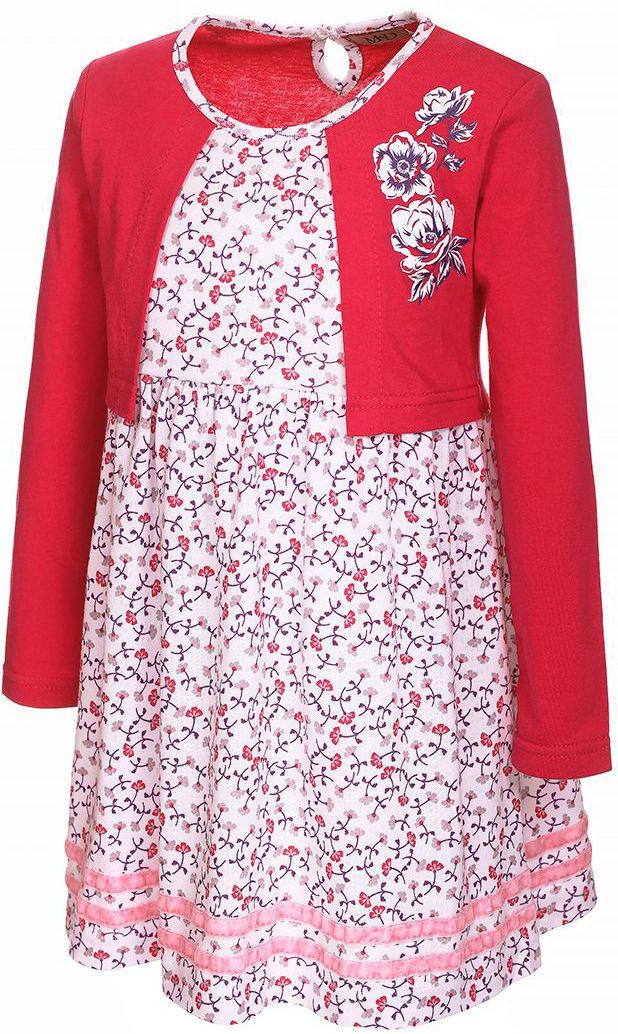 Платье для девочки M&D, цвет: малиновый, белый. WJD26046М-6. Размер 98WJD26046М-6Яркое платье M&D с имитацией жакета изготовлено из 100% хлопка. Швы приятны телу малышки и не препятствуют движениям. Модель с круглым вырезом горловины и стандартными длинными рукавами. Сзади имеется застежка на пуговицу. Модель дополнена цветочным принтом, термоаппликацией в виде цветов и бархатными лентами по низу.