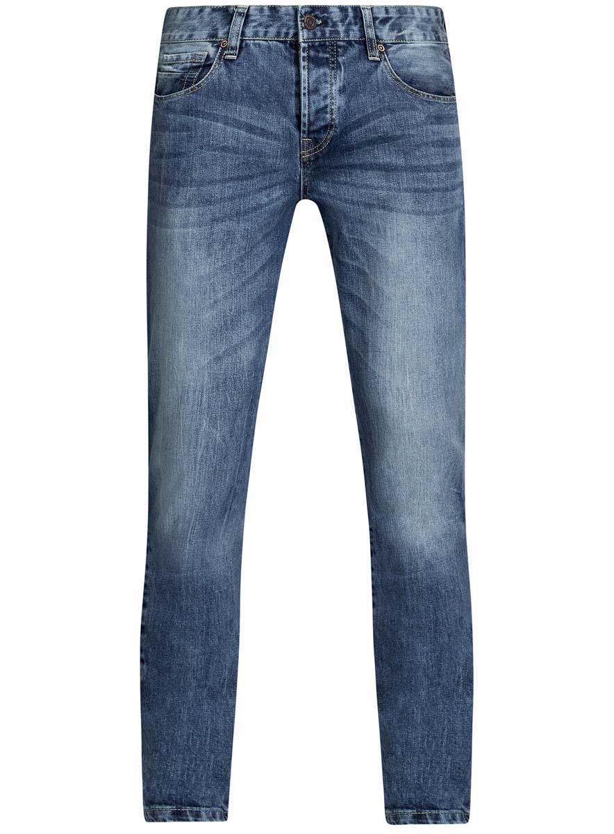 Джинсы мужские oodji Lab, цвет: синий джинс. 6L100019M/46627/7500W. Размер 32-32 (50-32)6L100019M/46627/7500WМужские джинсы oodji Lab выполнены из высококачественного материала. Модель-слим средней посадки по поясу застегивается на пуговицу и имеют ширинку на застежке-молнии, а также шлевки для ремня. Джинсы имеют классический пятикарманный крой: спереди - два втачных кармана и один маленький накладной, а сзади - два накладных кармана.