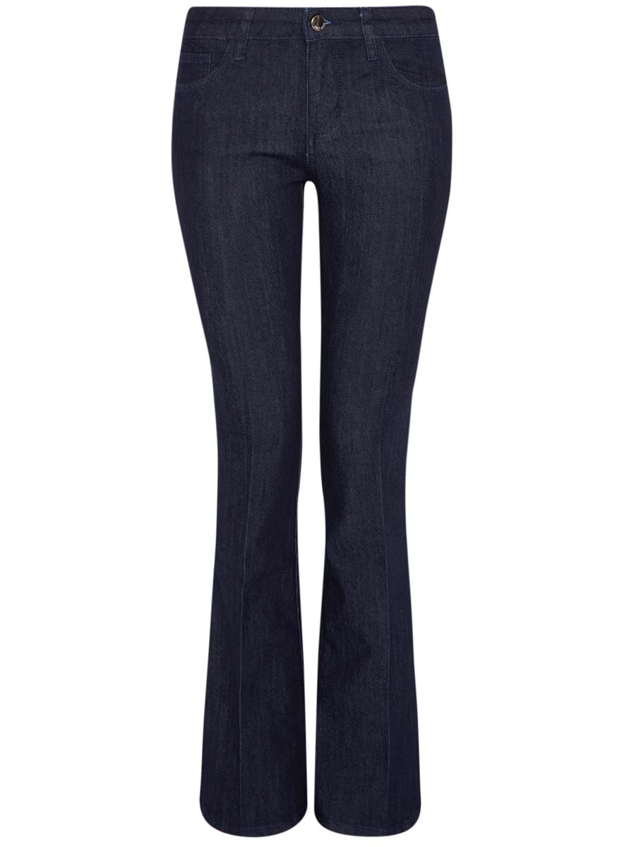 Джинсы женские oodji Ultra, цвет: темно-синий джинс. 12102079/45785/7900W. Размер 25-32 (40-32)12102079/45785/7900WЖенские джинсы oodji Ultra выполнены из высококачественного комбинированного материала. Модель клеш застегивается в поясе на пуговицу и молнию. Джинсы имеют классический пятикарманный крой: спереди модель дополнена двумя втачными карманами и одним маленьким накладным кармашком, а сзади - двумя накладными карманами. Изделие украшено декоративными потертостями и перманентными складками.