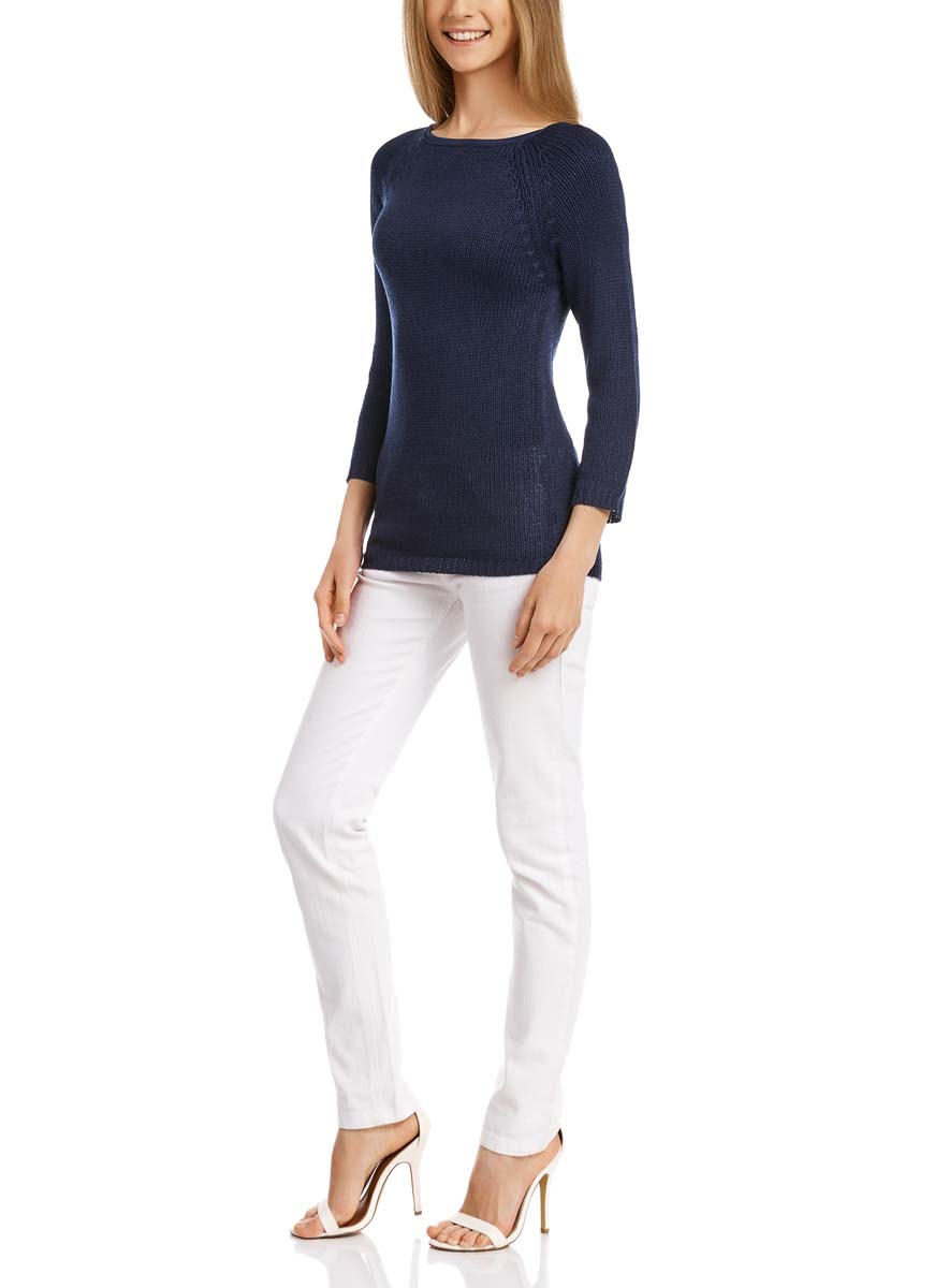 Джемпер женский oodji Ultra, цвет: темно-синий. 63803046-3B/31326/7900N. Размер XXS (40)63803046-3B/31326/7900NУютный женский джемпер с вырезом горловины лодочка и рукавами-реглан длиной 3/4 выполнен из акриловой пряжи.