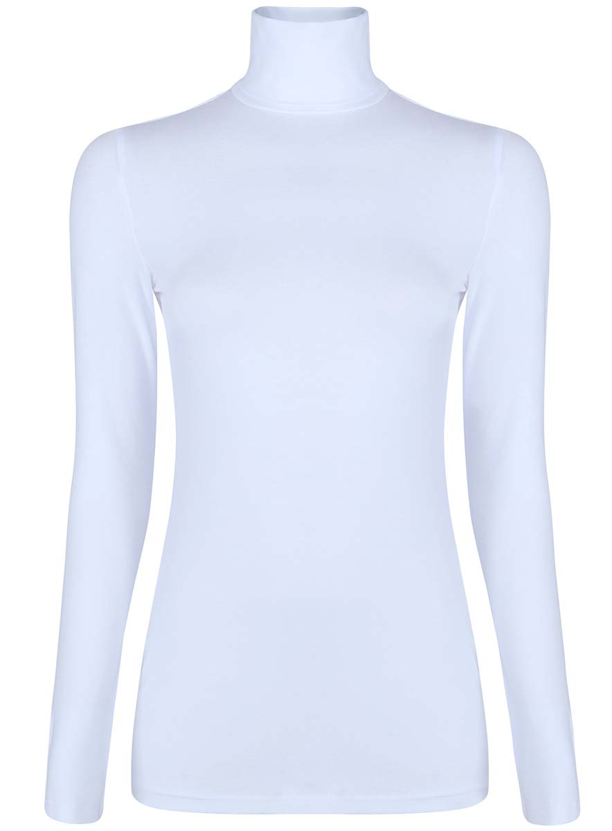 Водолазка женская oodji Ultra, цвет: белый. 15E02001B/46147/1000N. Размер XXS (40)15E02001B/46147/1000NБазовая женская водолазка oodji Ultra выполнена из эластичной хлопковой ткани. У модели воротник-гольф и стандартные длинные рукава.