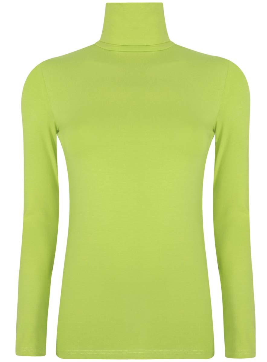 Водолазка женская oodji Ultra, цвет: зеленый. 15E02001B/46147/6B00N. Размер S (44)15E02001B/46147/6B00NБазовая женская водолазка oodji Ultra выполнена из эластичной хлопковой ткани. У модели воротник-гольф и стандартные длинные рукава.