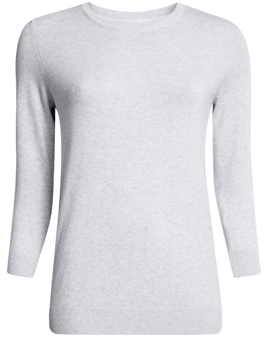 Джемпер женский oodji Ultra, цвет: светло-серый меланж. 63812567B/45642/2000M. Размер M (46)63812567B/45642/2000MУютный женский джемпер с круглым вырезом горловины и рукавами 3/4 выполнен из хлопкового материала.