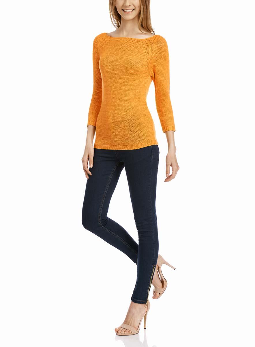 Джемпер женский oodji Ultra, цвет: оранжевый. 63803046-3B/31326/5500N. Размер L (48)63803046-3B/31326/5500NУютный женский джемпер с вырезом горловины лодочка и рукавами-реглан длиной 3/4 выполнен из акриловой пряжи.