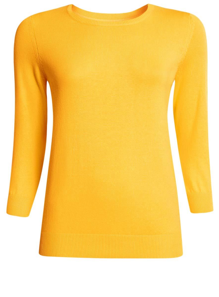 Джемпер женский oodji Ultra, цвет: желтый. 63812567B/45576/5200N. Размер XS (42)63812567B/45576/5200NУютный женский джемпер с круглым вырезом горловины и рукавами 3/4 выполнен из хлопкового материала.