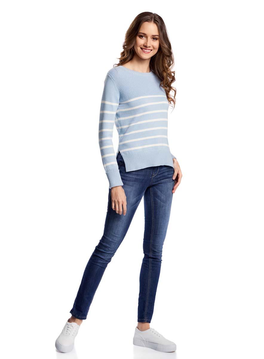Джемпер женский oodji Ultra, цвет: голубой, кремовый. 63807305/46037/7030S. Размер XS (42)63807305/46037/7030SУютный женский джемпер с круглым вырезом горловины и длинными рукавами выполнен из натурального хлопка. По бокам модель разрезами.