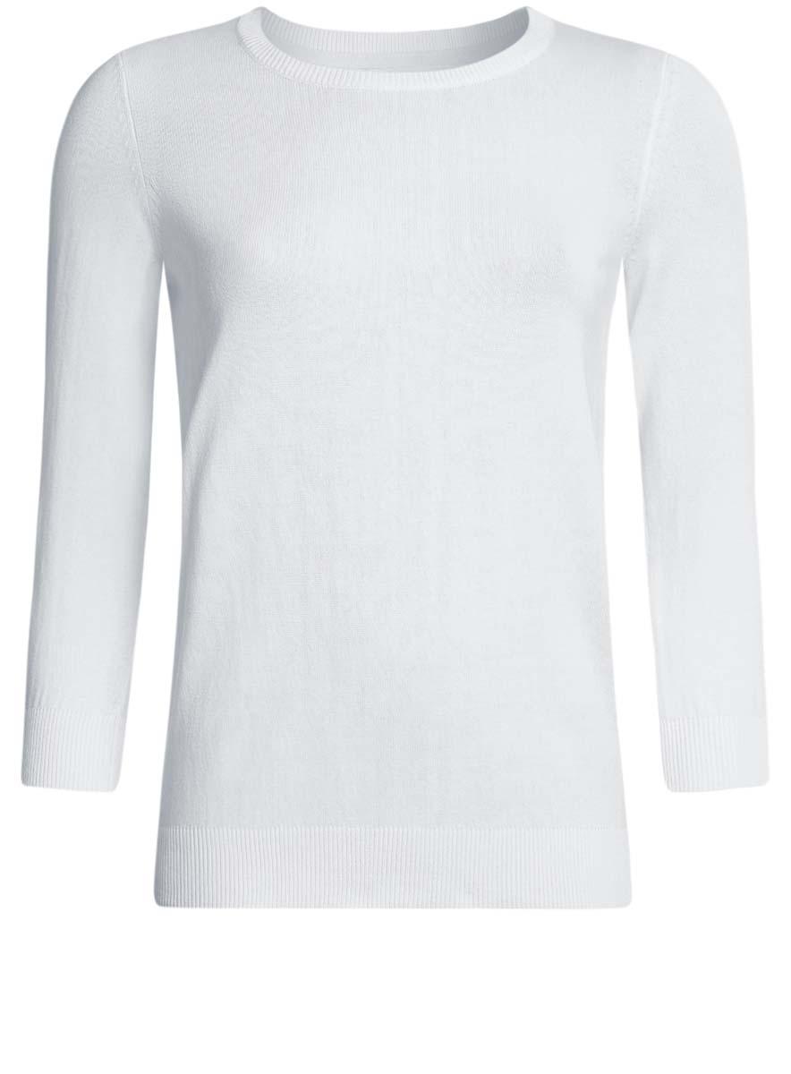 Джемпер женский oodji Ultra, цвет: белый. 63812567B/45576/1000N. Размер XS (42)63812567B/45576/1000NУютный женский джемпер с круглым вырезом горловины и рукавами 3/4 выполнен из хлопкового материала.