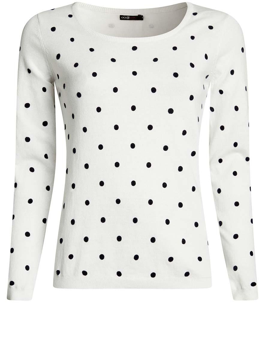 Джемпер женский oodji Ultra, цвет: белый, черный. 63812575/46037/1229D. Размер M (46)63812575/46037/1229DУютный женский джемпер в горошек с круглым вырезом горловины и длинными рукавами выполнен из натурального хлопка.