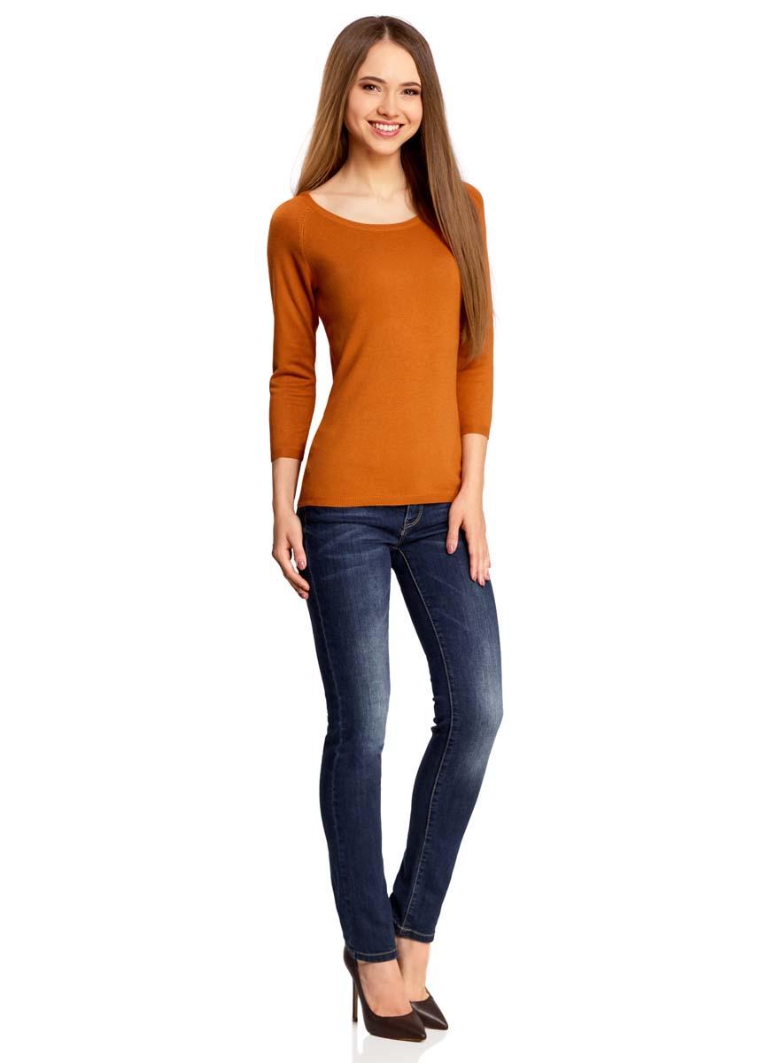 Джемпер женский oodji Collection, цвет: темно-оранжевый. 73812552-2B/24525/5900N. Размер XS (42)73812552-2B/24525/5900NУютный женский джемпер с круглым вырезом горловины и рукавами-реглан длиной 3/4 выполнен из вискозного материала.