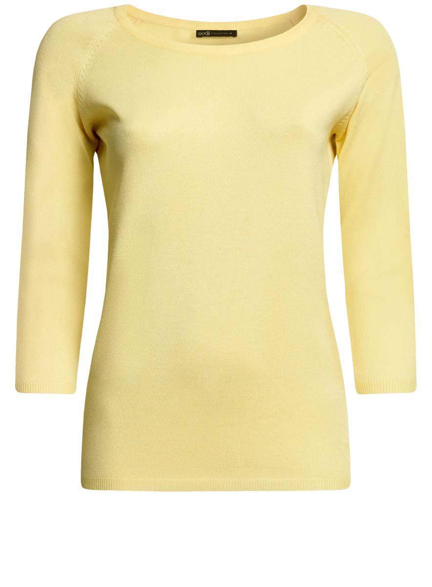 Джемпер женский oodji Collection, цвет: светло-желтый. 73812552-2B/24525/5000N. Размер XS (42)73812552-2B/24525/5000NУютный женский джемпер с круглым вырезом горловины и рукавами-реглан длиной 3/4 выполнен из вискозного материала.