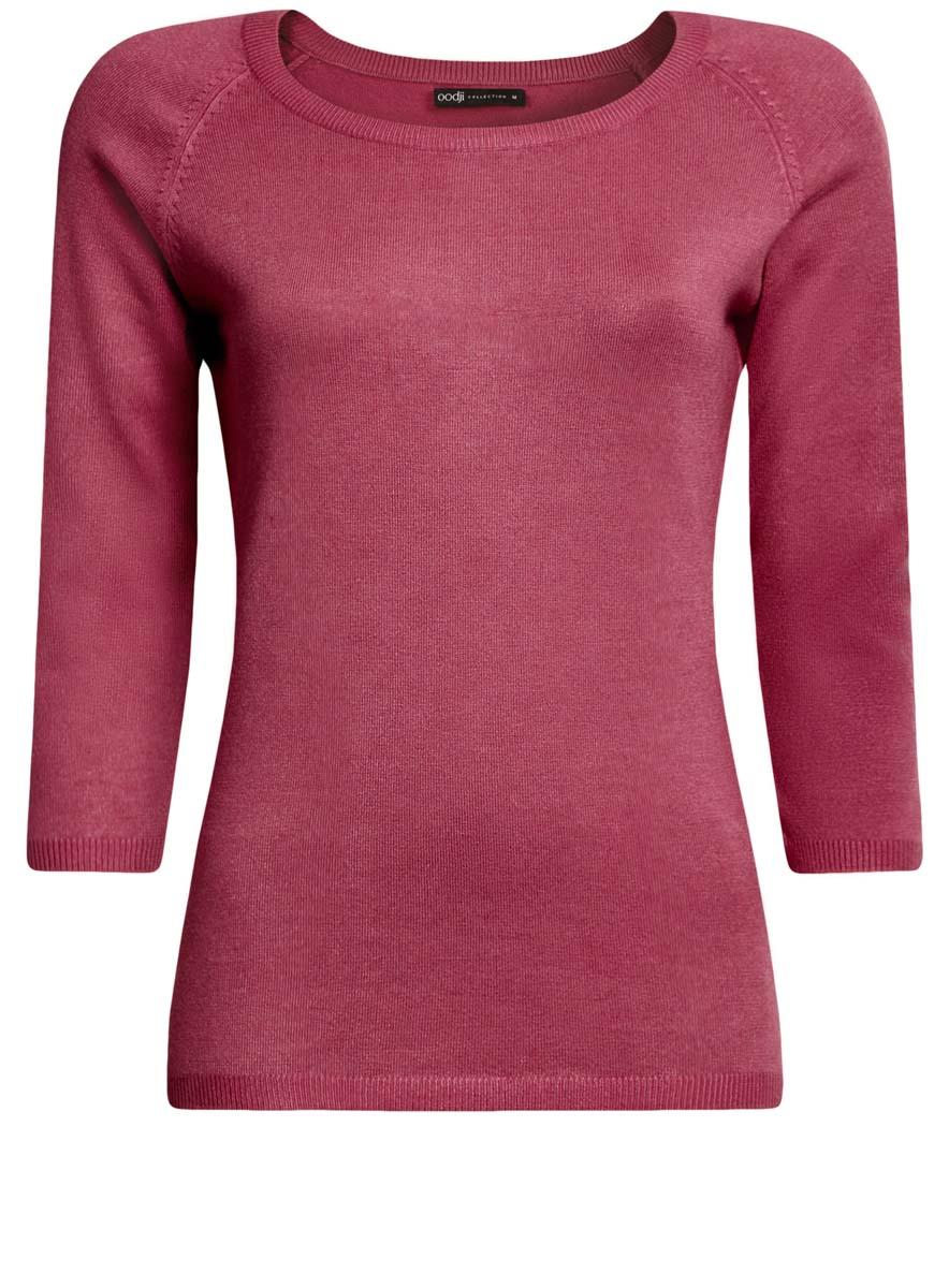 Джемпер женский oodji Collection, цвет: розовый. 73812552-2B/24525/4A00N. Размер XS (42)73812552-2B/24525/4A00NУютный женский джемпер с круглым вырезом горловины и рукавами-реглан длиной 3/4 выполнен из вискозного материала.