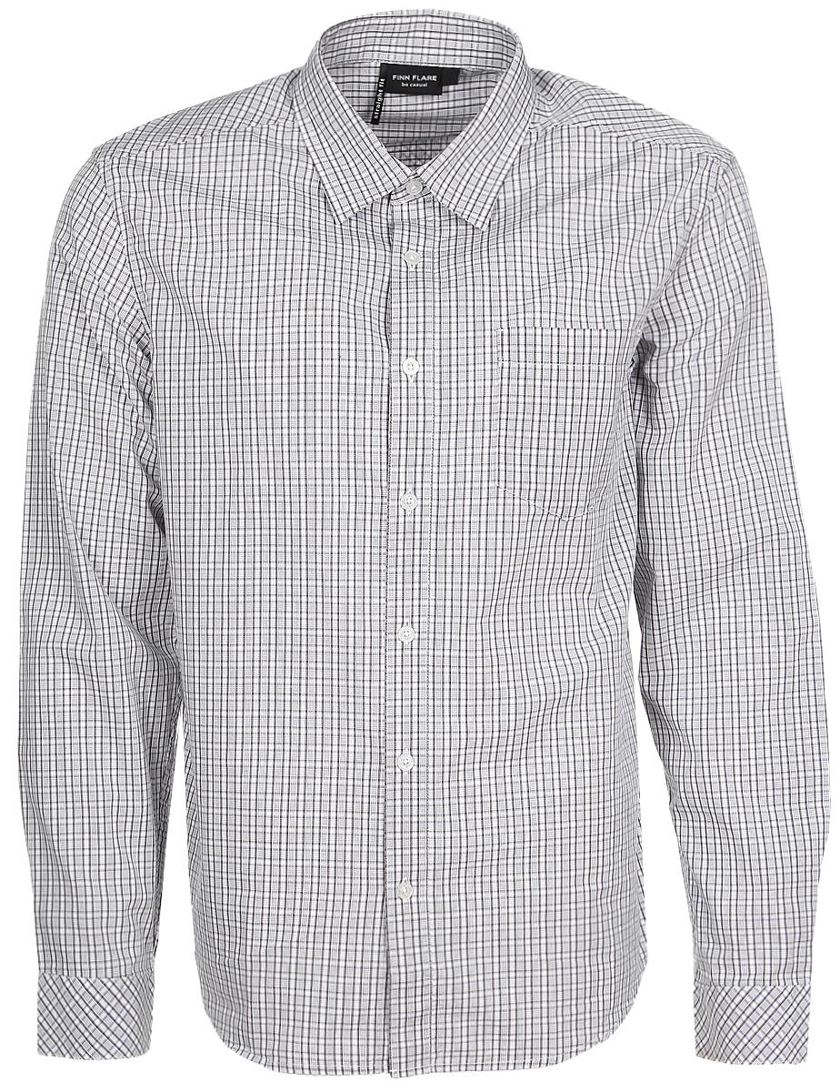 Рубашка мужская Finn Flare, цвет: белый, серый. B17-21010_202. Размер XL (52)B17-21010_202Мужская рубашка Finn Flare выполнена из натурального хлопка. Рубашка с длинными рукавами и отложным воротником застегивается на пуговицы спереди. Манжеты рукавов также застегиваются на пуговицы. Рубашка оформлена принтом в клетку. На груди расположен накладной карман.