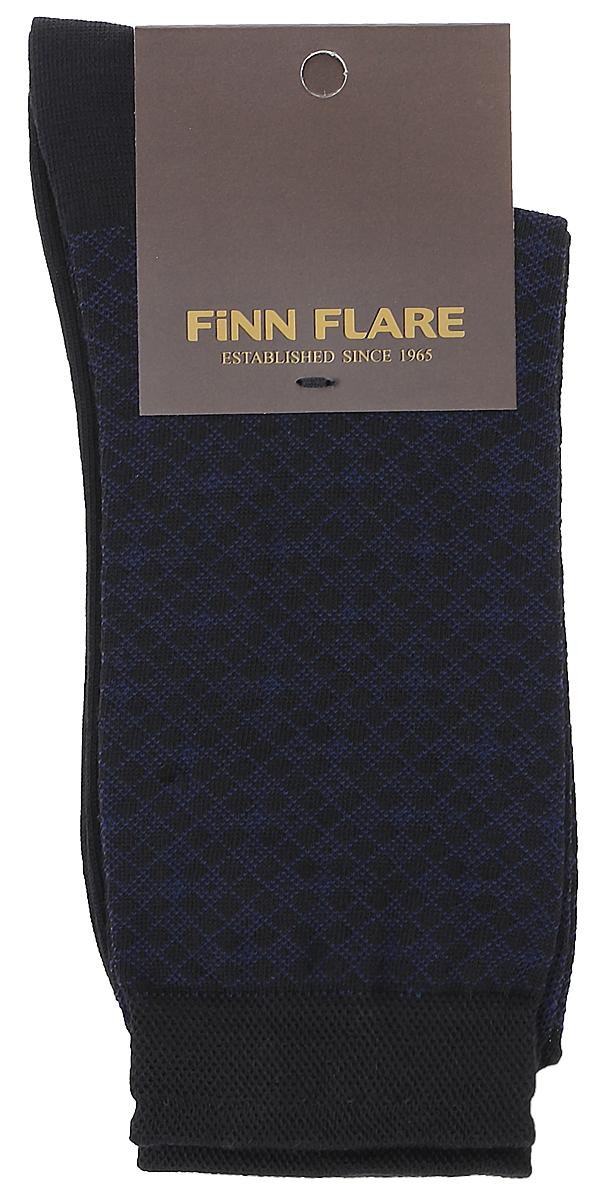 Носки мужские Finn Flare, цвет: черный. B17-21117_200. Размер XL (43/44)B17-21117_200Мужские носки Finn Flare изготовлены из высококачественного эластичного хлопка с добавлением полиамида. Удлиненные носки имеют эластичную резинку, которая надежно фиксирует изделие на ноге. Носки оформлены принтом в клетку.