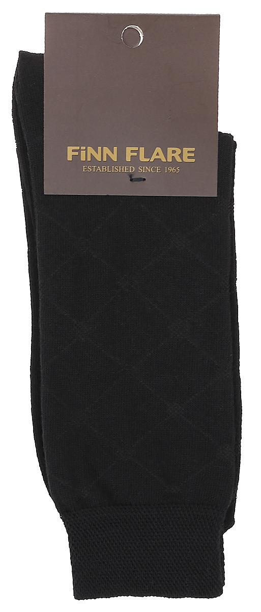Носки мужские Finn Flare, цвет: черный. B17-21116_200. Размер XL (43/44)B17-21116_200Мужские носки Finn Flare изготовлены из высококачественного эластичного хлопка с добавлением полиамида. Удлиненные носки имеют эластичную резинку, которая надежно фиксирует изделие на ноге.