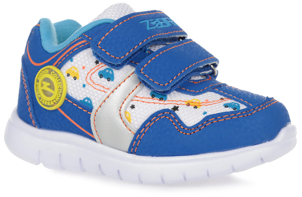 Кроссовки детские Зебра, цвет: синий. 10144-5. Размер 2110144-5Кроссовки от фирмы Зебра выполнена из искусственной кожи и дышащего текстиля. Застежки-липучки обеспечивают надежную фиксацию обуви на ноге ребенка. Подкладка выполнена из текстиля, что предотвращает натирание и гарантирует уют. Стелька с поверхностью из натуральной кожи оснащена небольшим супинатором с перфорацией, который обеспечивает правильное положение ноги ребенка при ходьбе и предотвращает плоскостопие. Подошва с рифлением обеспечивает идеальное сцепление с любыми поверхностями.