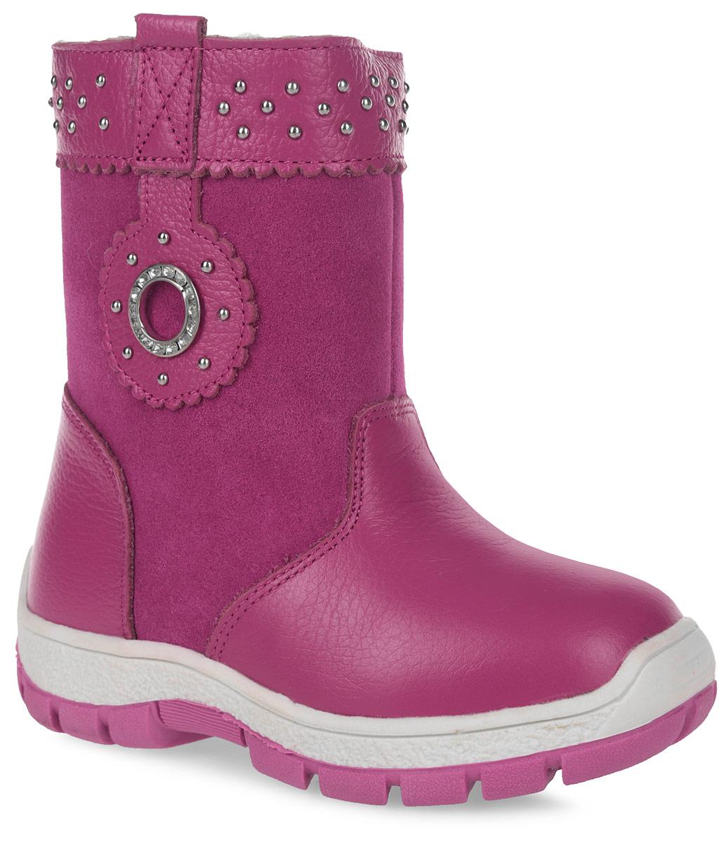 Полусапоги для девочки Зебра, цвет: розовый. 11108-9. Размер 2911108-9Полусапоги от Зебра выполнены из натуральной кожи в сочетании с натуральной замшей. Застежка-молния надежно фиксирует изделие на ноге. Мягкая подкладка и стелька из шерсти обеспечивают тепло, циркуляцию воздуха и сохраняют комфортный микроклимат в обуви. Модель декорирована стразами и клепками.