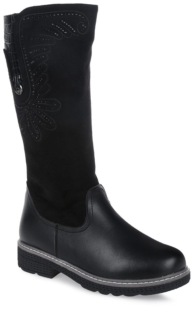 Сапоги для девочки Зебра, цвет: черный. 11126-1. Размер 3311126-1Удобные и теплые сапоги от Зебра выполнены из искусственной кожи в сочетании с замшей. Застежка-молния надежно фиксирует изделие на ноге. Мягкая подкладка и стелька из шерсти обеспечивают тепло, циркуляцию воздуха и сохраняют комфортный микроклимат в обуви. Модель украшена стразами.