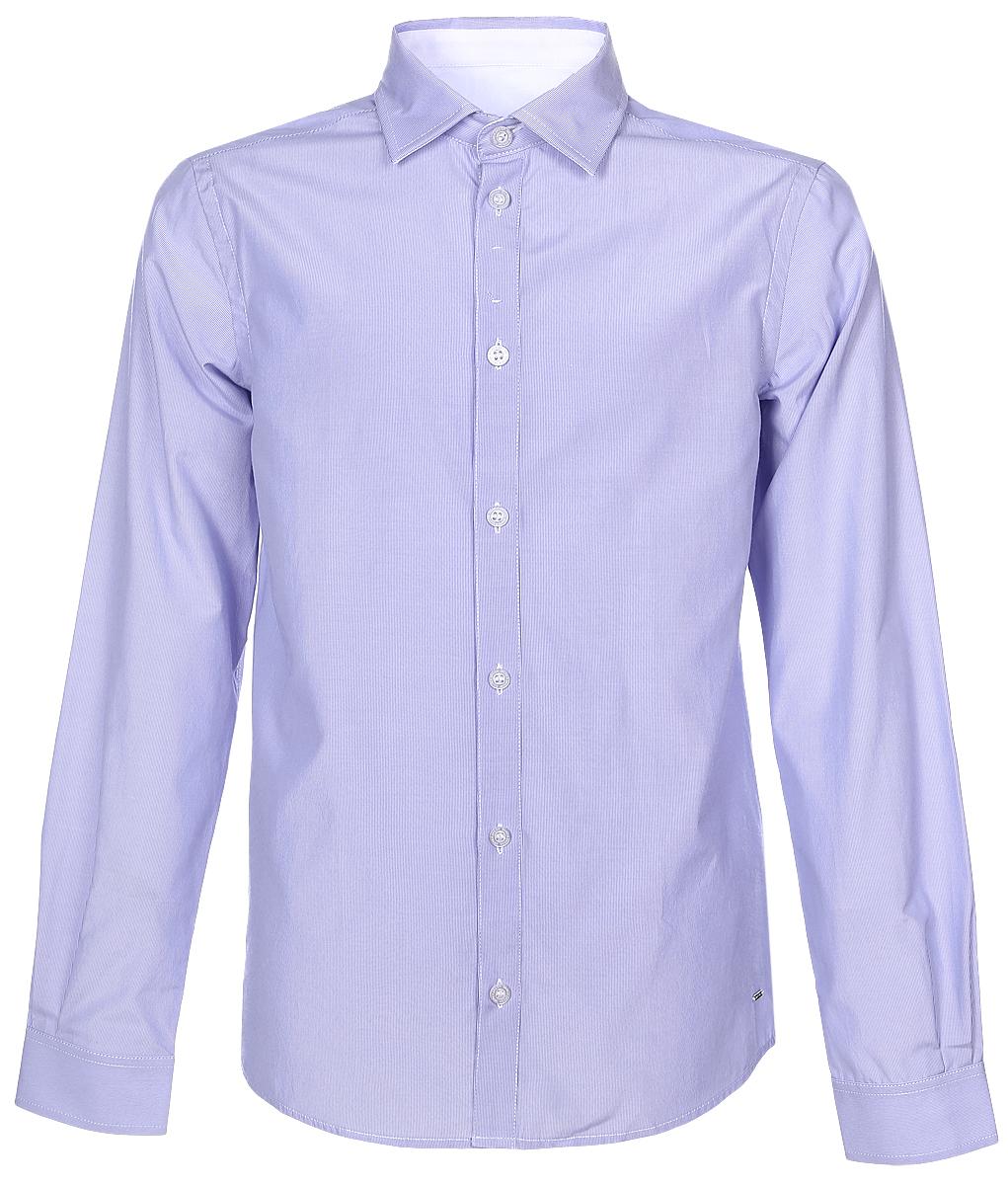 Рубашка для мальчика Silver Spoon, цвет: сиреневый, белый. SSFSB-629-13831-334. Размер 164SSFSB-629-13831-334Стильная рубашка Silver Spoon станет отличным дополнением к школьному гардеробу вашего мальчика. Модель, выполненная из хлопка с добавлением полиэстера, необычайно мягкая и приятная на ощупь, не сковывает движения и позволяет коже дышать. Рубашка классического кроя с длинными рукавами и отложным воротником застегивается на пуговицы по всей длине. На манжетах предусмотрены застежки-пуговицы. Модель оформлена принтом в мелкую полоску.