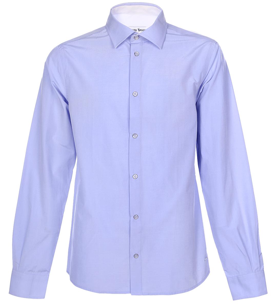 Рубашка для мальчика Silver Spoon, цвет: сиренево-синий. SSFSB-629-13831-338. Размер 158SSFSB-629-13831-338Стильная рубашка Silver Spoon станет отличным дополнением к школьному гардеробу вашего мальчика. Модель, выполненная из хлопка с добавлением полиэстера, необычайно мягкая и приятная на ощупь, не сковывает движения и позволяет коже дышать. Рубашка классического кроя с длинными рукавами и отложным воротником застегивается на пуговицы по всей длине. На манжетах предусмотрены застежки-пуговицы.