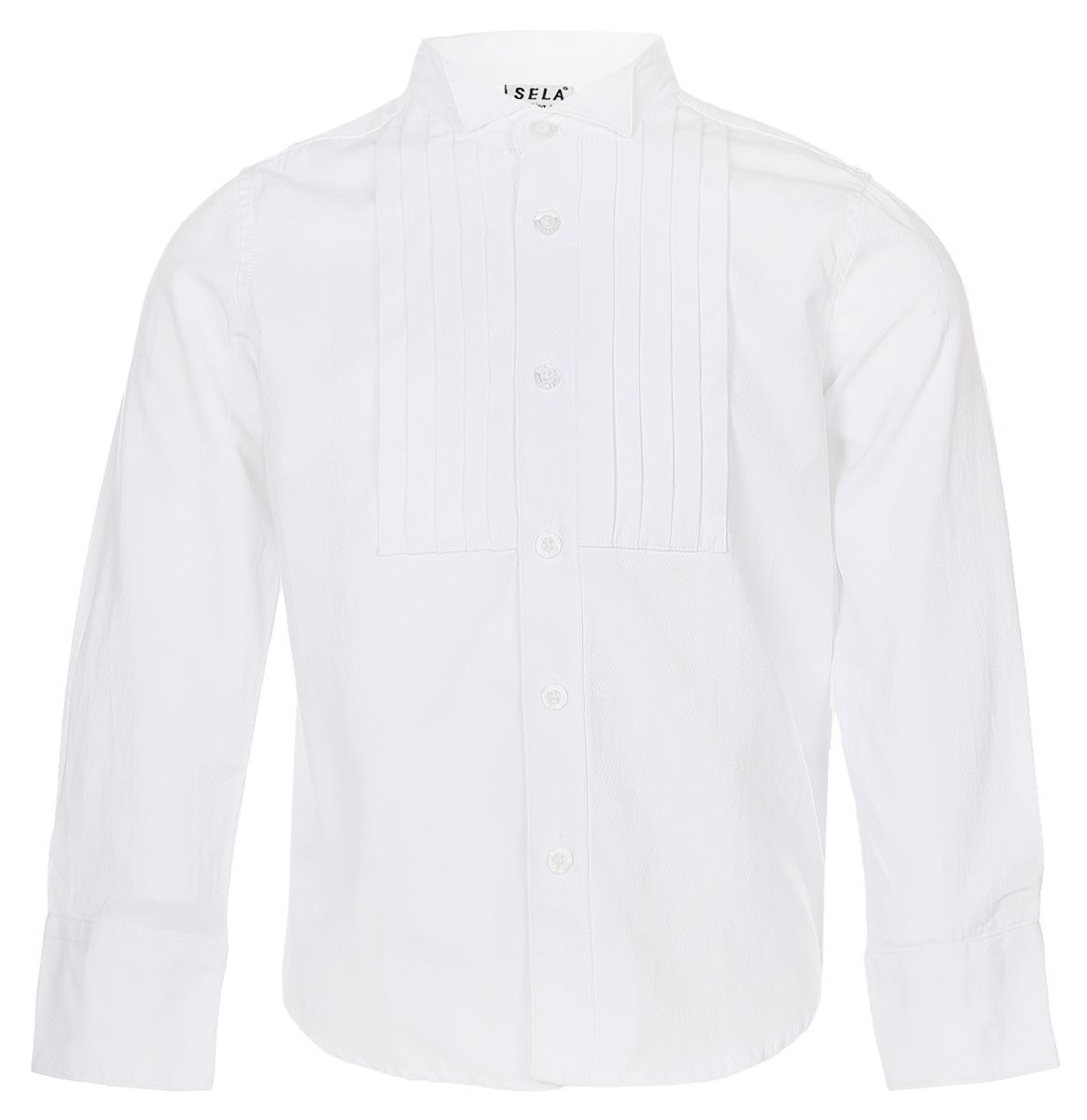 Рубашка для мальчика Sela, цвет: белый. H-712/447-6416. Размер 104, 4 годаH-712/447-6416Стильная рубашка для мальчика Sela изготовлена из качественного сочетания хлопка и полиэстера.Рубашка с длинными рукавами и воротником-стойкой застегивается на пластиковые пуговицы по всей длине. Манжеты рукавов также застегиваются на пуговицы. Классическая однотонная рубашка оформлена спереди горизонтальными складочками.