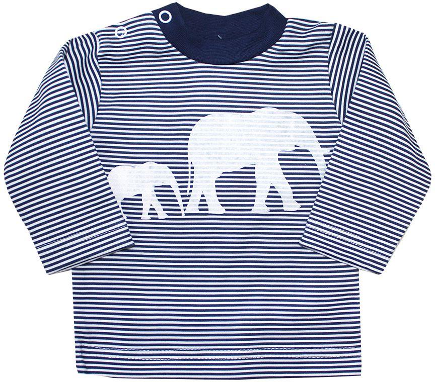 Футболка с длинным рукавом детская КотМарКот Африка, цвет: синий, белый. 7977. Размер 86, 1 год7977Комфортная детская футболка с длинным рукавом КотМарКот Африка изготовлена из натурального хлопка. Модель с длинными рукавами и круглым вырезом горловины застегивается на плечике на две кнопки. Ворот выполнен из мягкой трикотажной резинки. Оформлено изделие интересным принтом в полоску с изображением слонов.