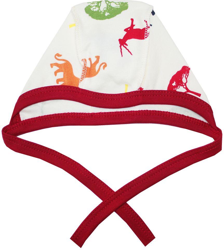 Чепчик КотМарКот Африка, цвет: красный, бежевый. 8276. Размер 488276Мягкий чепчик КотМарКот, изготовленный из натурального хлопка, не раздражает нежную кожу ребенка и хорошо вентилируется, защищая еще не заросший родничок младенца.Чепчик выполнен швами наружу, что обеспечивает максимальный комфорт ребенку, а завязки позволяют регулировать обхват. Чепчик оформлен принтом в виде силуэтов африканских животных.