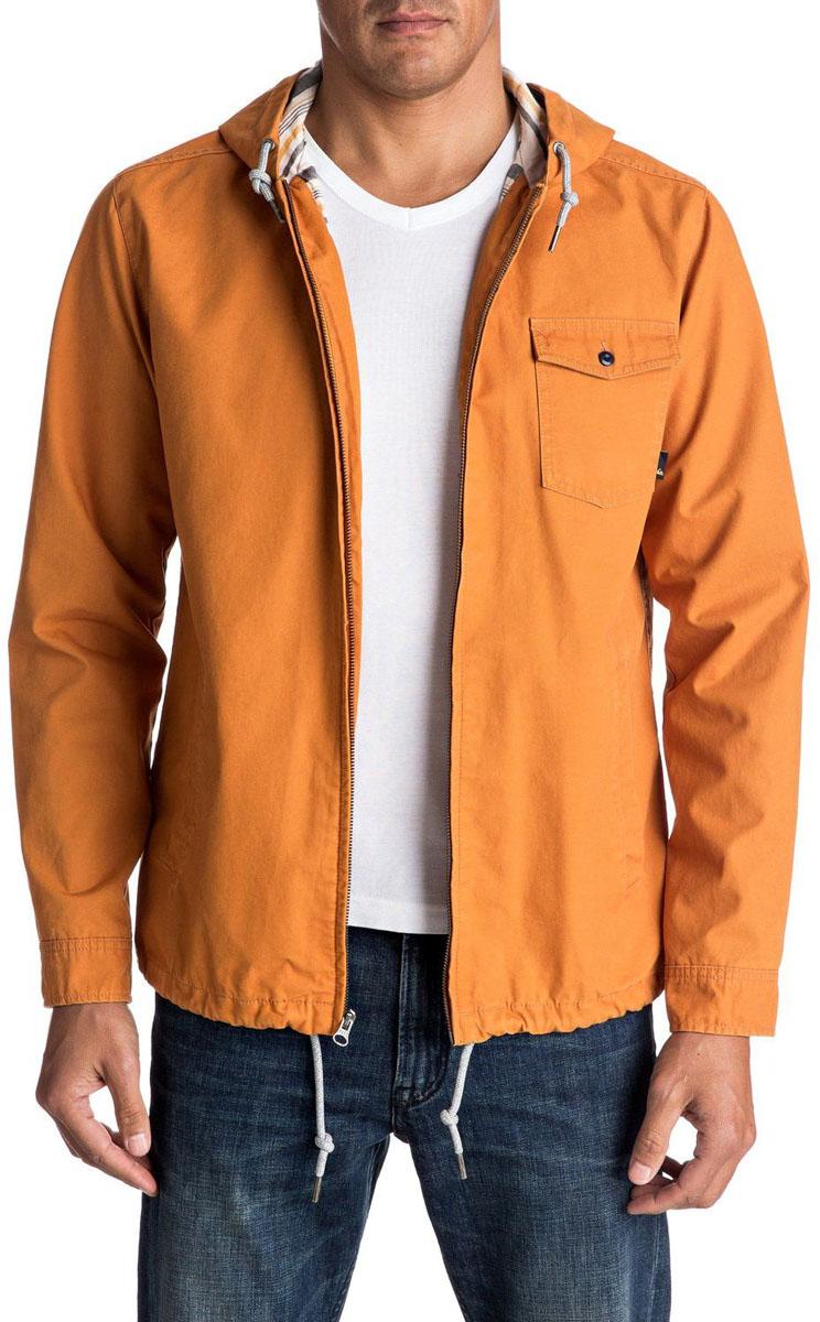 Куртка мужская Quiksilver, цвет: желтый. EQYJK03287-NMV0. Размер L (52)EQYJK03287-NMV0Мужская куртка для Quiksilver выполнена из качественного хлопка. Модель с длинными рукавами и капюшоном застегивается на застежку-молнию. Изделие дополнено карманами.