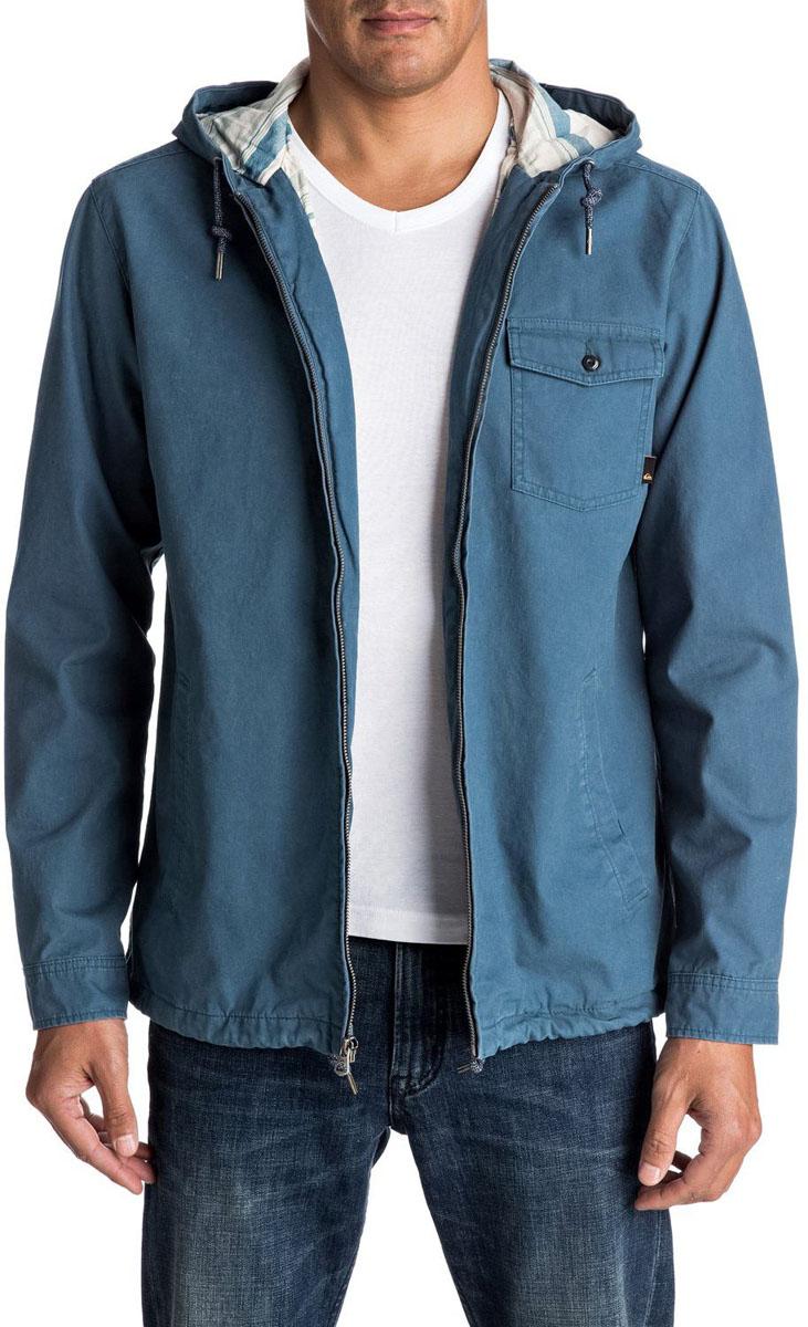 Куртка мужская Quiksilver, цвет: голубой. EQYJK03287-BQK0. Размер XL (54)EQYJK03287-BQK0Мужская куртка для Quiksilver выполнена из качественного хлопка. Модель с длинными рукавами и капюшоном застегивается на застежку-молнию. Изделие дополнено карманами.
