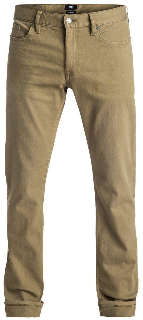 Джинсы мужские DC Shoes, цвет: хаки. EDYDP03300-TPD0. Размер 32 (50)EDYDP03300-TPD0Мужские джинсы DC Shoes изготовлены из удобного эластичного денима. Модель имеет крой Easy Straight - стандартные по крою бедра и прямые штанины. Застегивается на молнию и пуговицу в поясе. Модель имеет кокетку наоборот и стандартный пятикарманный крой: два вшитых кармана и один маленький накладной кармашек спереди, а также два накладных кармана сзади. Пояс оснащен шлевками для ремня, также имеется кожаная нашивка с перфорацией на поясе сзади. В районе коленей и ширинки предусмотрены строчки-закрепки. Вдоль изнанки пояса имеется черно-белая декоративная тесьма.
