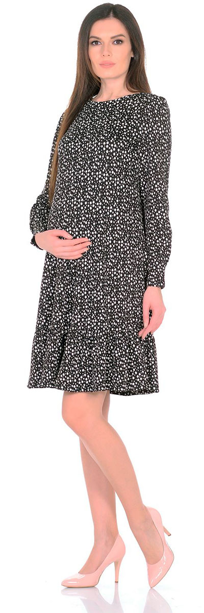 Платье для беременных Nuova Vita Снежинка, цвет: черный, белый. 2154.11 N.V.. Размер 462154.11 N.V.Платье Nuova Vita выполнено из вискозы и эластана. Модель с круглым вырезом горловины застегивается на пуговицу.