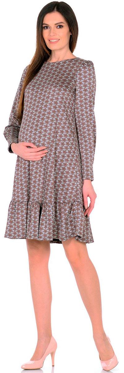 Платье для беременных Nuova Vita Цветы, цвет: серый, коричневый. 2154.02 N.V.. Размер 482154.02 N.V.Платье Nuova Vita выполнено из вискозы, полиэстера и лайкры. Модель с круглым вырезом горловины застегивается на пуговицу.