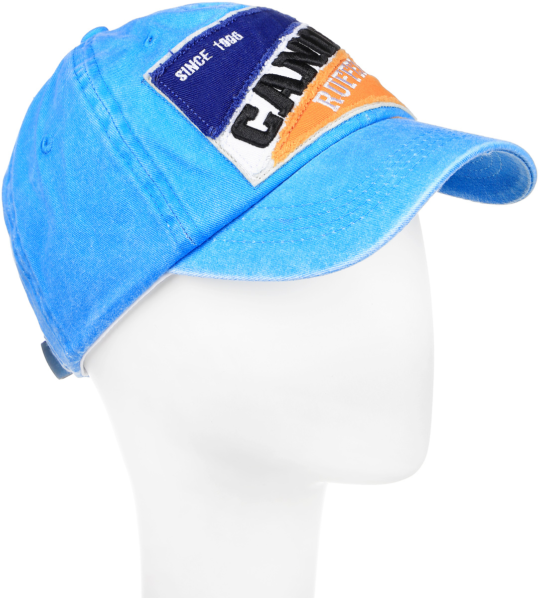 Бейсболка мужская Canoe Race, цвет: голубой. 1963484. Размер 581963484Классическая мужская бейсболка Canoe Race, изготовленная из 100% хлопка, идеально подойдет для активного отдыха и обеспечит надежную защиту головы от солнца. Бейсболка имеет перфорацию, обеспечивающую дополнительную вентиляцию. Спереди бейсболка декорирована двухцветной нашивкой с надписью Canoe Ruffers. Объем изделия регулируется благодаря ремешку с зажимом, оформленным вырубкой в виде листа. Такая бейсболка станет отличным аксессуаром для занятий спортом или дополнит ваш повседневный образ.