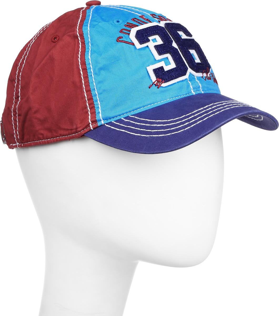 Бейсболка мужская Canoe Eol, цвет: темно-синий, бордовый, голубой. 1962794. Размер 58/601962794Практичная и стильная мужская бейсболка Canoe Eol, выполненная из высококачественного хлопка, идеально подойдет для активного отдыха и обеспечит надежную защиту головы от солнца. Она имеет перфорацию, обеспечивающую необходимую вентиляцию. Спереди бейсболка оформлена нашивкой из мягкого текстильного материала в виде цифр 36 и надписью Canoe Sport. Бейсболка украшена декоративной отстрочкой и вставками контрастного цвета.Объем изделия регулируется ремешком на удобной стальной защелке, украшенной декоративными вырубками. Такая бейсболка станет отличным аксессуаром для занятий спортом или дополнит ваш повседневный образ.