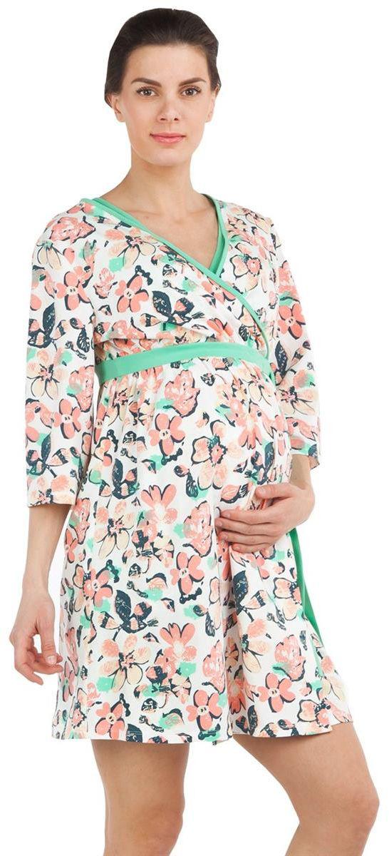 Халат для беременных Mammy Size, цвет: светло-розовый, светло-зеленый. 7001702174. Размер 447001702174Халат для беременных Mammy Size выполнен из качественного материала, что позволяет изделию не деформироваться при носке. Оформлена модель цветочным принтом.