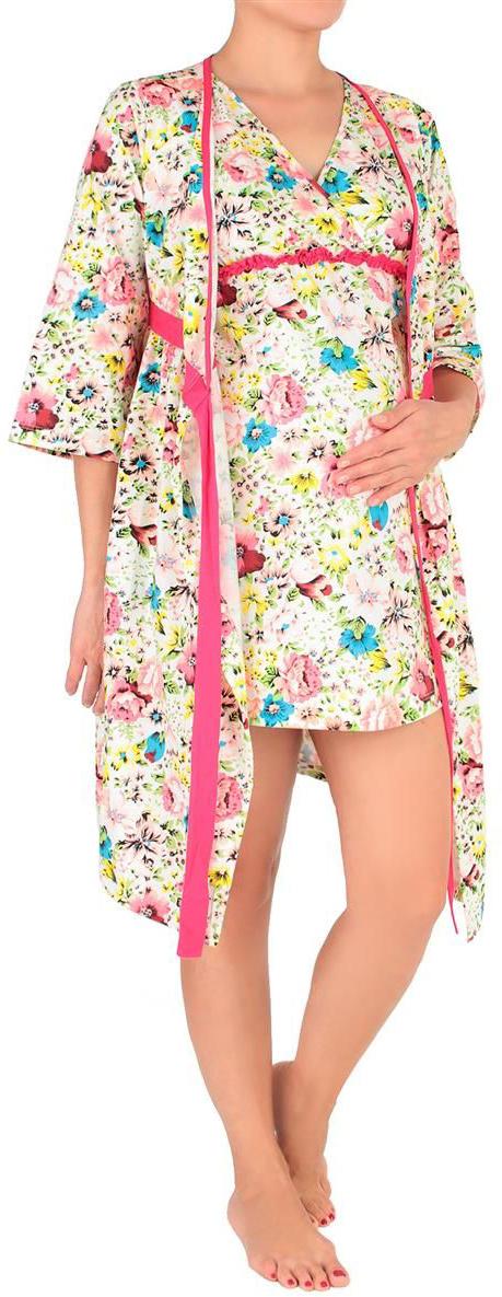 Костюм домашний для беременных Mammy Size: халат, сорочка, цвет: белый, розовый. 7001692177. Размер 467001692177Незаменимая вещь в гардеробе каждой женщины - легкий, удобный домашний халат и ночнушка нежного цвета с цветочными вкраплениями.