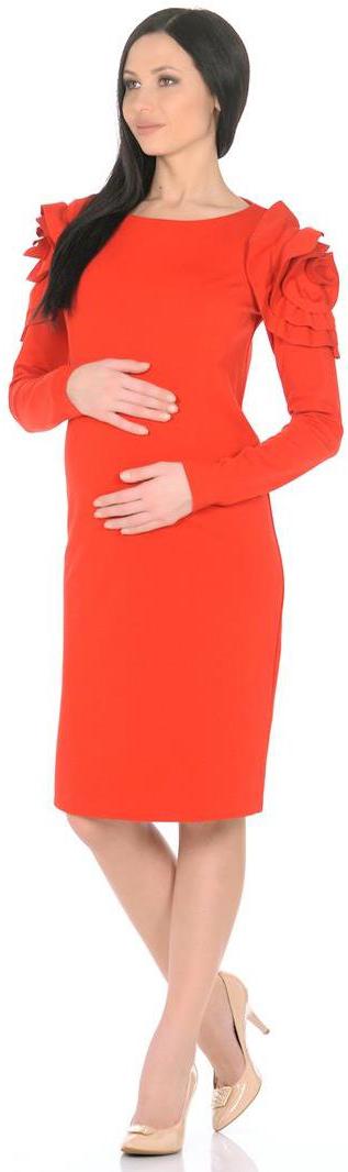 Платье для беременных Mammy Size, цвет: красный. 5209522177. Размер 485209522177Платье Mammy Size прилегающего силуэта, длиной до середины колен. Рукава длинные, сверху украшены рюшами. Спинка со швом посередине, с потайной застежкой-молнией.