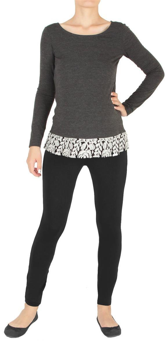 Блузка для беременных Mammy Size, цвет: серый. 3502352171. Размер 423502352171Блузка для беременных Mammy Size выполнена из вискозы, полиэстера и спандекса. Модель с утонченным кружевом по низу.