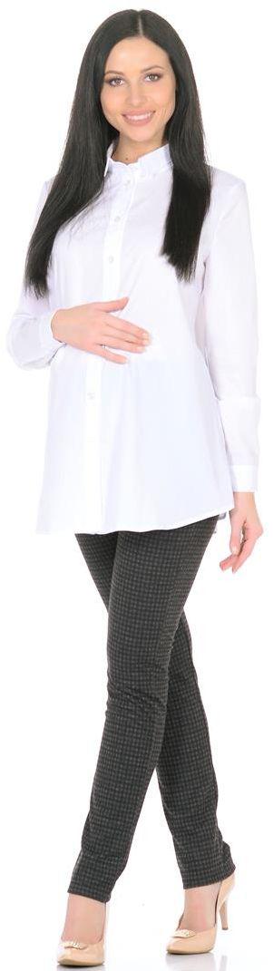 Блузка для беременных Mammy Size, цвет: белый. 3069312170. Размер 443069312170Блузка для беременных Mammy Size выполнена из полиэстера, вискозы и эластана. Модель с отложным воротником и длинными рукавами застегивается на пуговицы.