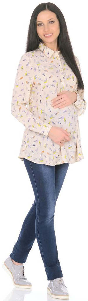 Блузка для беременных Mammy Size, цвет: бежевый. 3068312172. Размер 443068312172Блузка женская свободного силуэта, длиной чуть ниже бедер. Рукава длинные, с манжетами, с регулировкой хлястиками по длине. Спереди застежка-планка на пуговицы и нагрудный карман. Воротник отложной со стойкой.