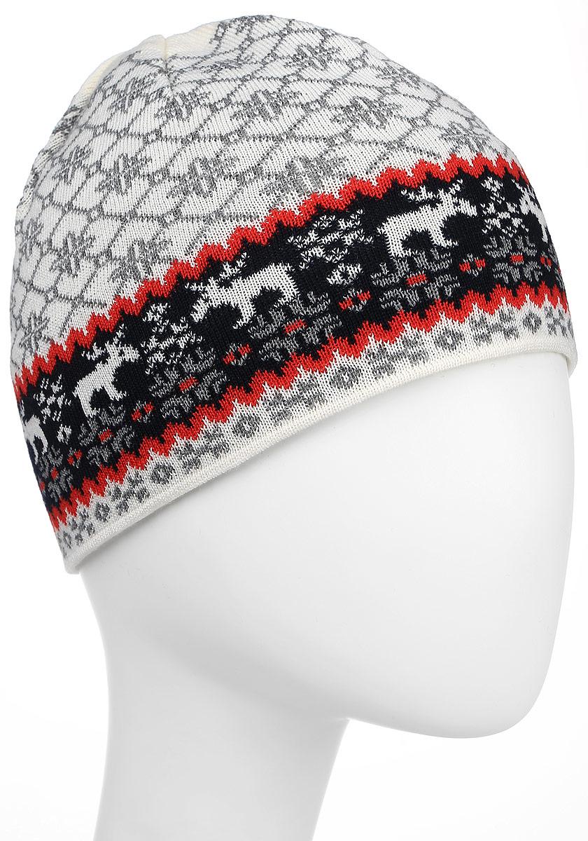 Шапка Kama Cross-Country Beanies, цвет: белый, синий. A96_101. Размер универсальныйA96_101Полушерстяная шапка с норвежским узором на подкладе с технологией Polycolon. Дополнена маленьким помпоном.