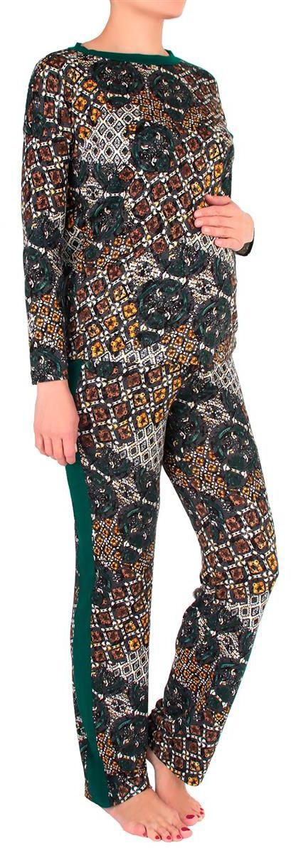 Костюм домашний для беременных Mammy Size: лонгслив, брюки, цвет: темно-серый, зеленый. 1168692174. Размер 441168692174Удобный и красивый домашний костюм для беременных Mammy Size, изготовленный из вискозы и эластана, состоит из лонгслива и брюк. Лонгслив с длинными рукавами и круглым вырезом горловины. Универсальность этого комплекта заключается в том, что его можно носить как во время беременности, так и после рождения ребенка. Резинка на брюках устроена так, что во время беременности она находится под животом.