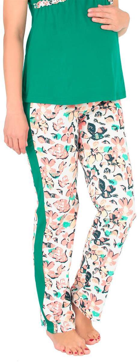 Брюки домашние для беременных Mammy Size, цвет: светло-розовый. 1104112174. Размер 461104112174Удобные домашние брюки Mammy Size выполнены их хлопка и эластана. Модель с ярким цветочным принтом