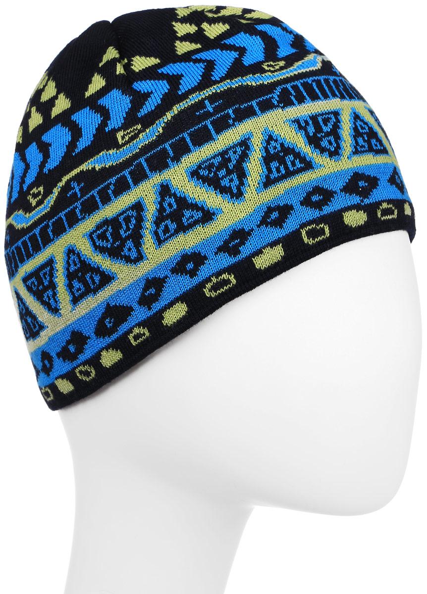 Шапка Kama Kamakadze, цвет: синий. KW03_108. Размер универсальныйKW03_108Классическая теплая полушерстяная шапка с логотипом и узором