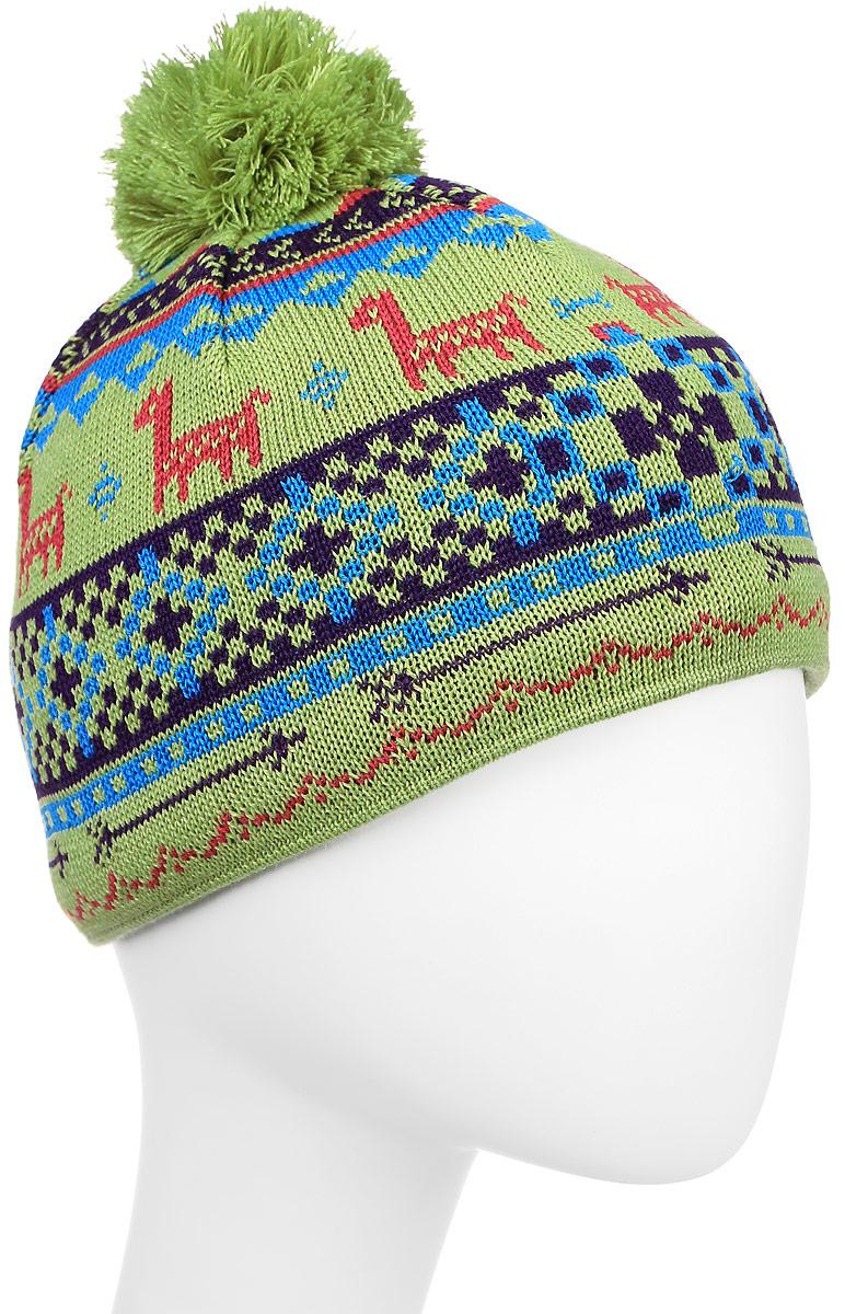 Шапка Kama Kamakadze, цвет: зеленый, голубой. K53_105. Размер универсальныйK53_105Стильная шапка Kama Kamakadze дополнит ваш наряд и не позволит вам замерзнуть в холодное время года. Шапка выполнена из шерсти с добавлением акрила, что позволяет ей великолепно сохранять тепло и обеспечивает высокую эластичность и удобство посадки. Внутри мягкая и приятная на ощупь подкладка. Оформлена модель интересным принтом и помпоном на макушке.Такая шапка составит идеальный комплект с модной верхней одеждой.
