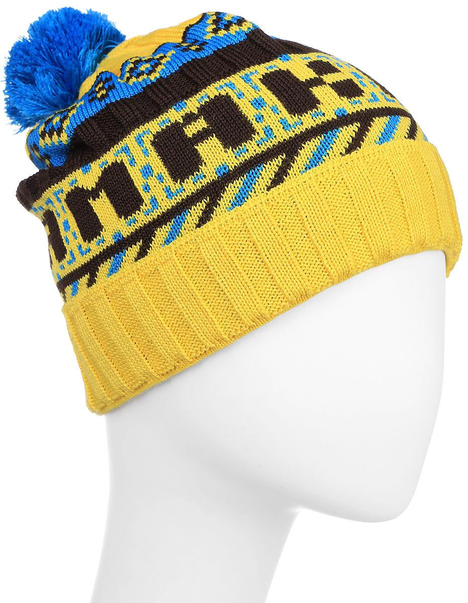 Шапка Kama Kamakadze, цвет: желтый, голубой. K31_102. Размер универсальныйK31_102Полушерстяная шапка с контрастным принтом и надписью KAMAcadze. Оформлена помпоном и отворотом.