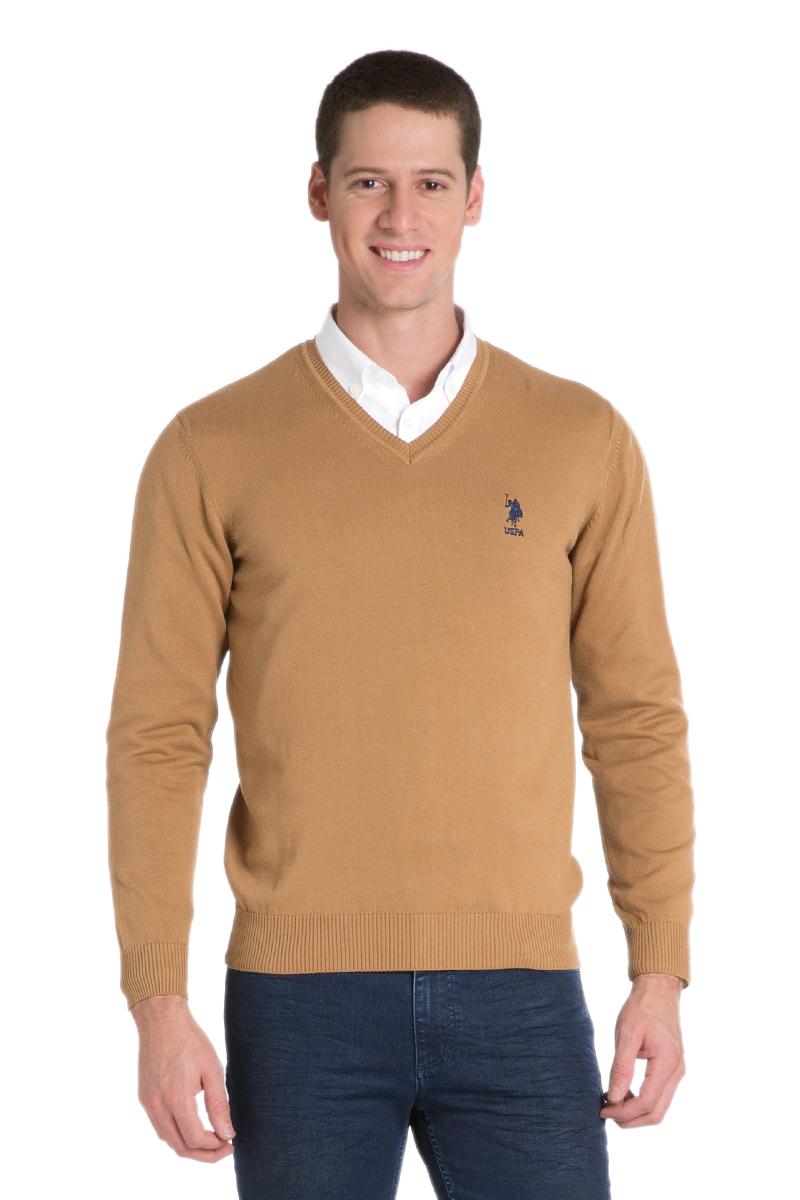 Пуловер мужской U.S. Polo Assn., цвет: бежевый. G081GL0TK0GTD02SK6_VR015. Размер L (52)G081GL0TK0GTD02SK6_VR015Мужской пуловер с длинными рукавами и V-образным вырезом горловины выполнен из натурального хлопка.