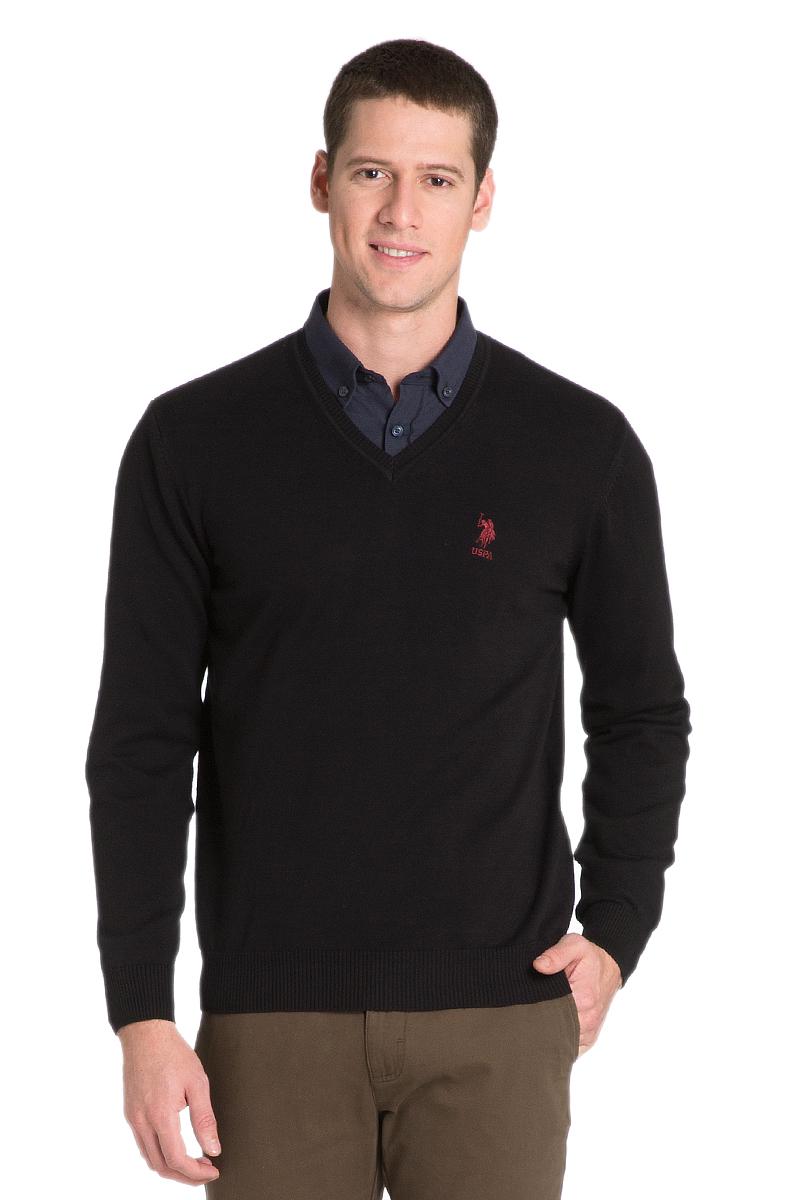 Пуловер мужской U.S. Polo Assn., цвет: черный. G081GL0TK0GTD02SK6_VR046. Размер M (50)G081GL0TK0GTD02SK6_VR046Мужской пуловер с длинными рукавами и V-образным вырезом горловины выполнен из натурального хлопка.