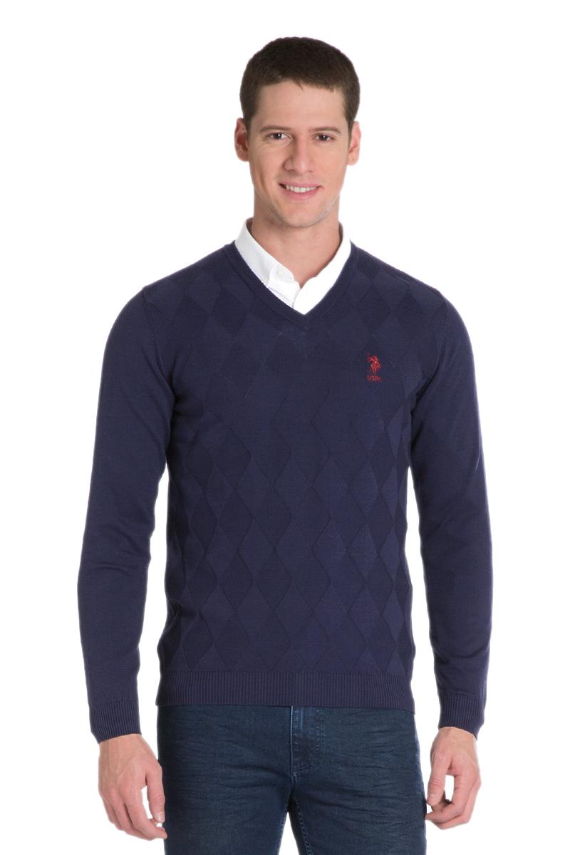 Пуловер мужской U.S. Polo Assn., цвет: темно-синий. G081GL0TK0ZEN_VR033. Размер L (52)G081GL0TK0ZEN_VR033Мужской пуловер с длинными рукавами и V-образным вырезом горловины выполнен из натурального хлопка.