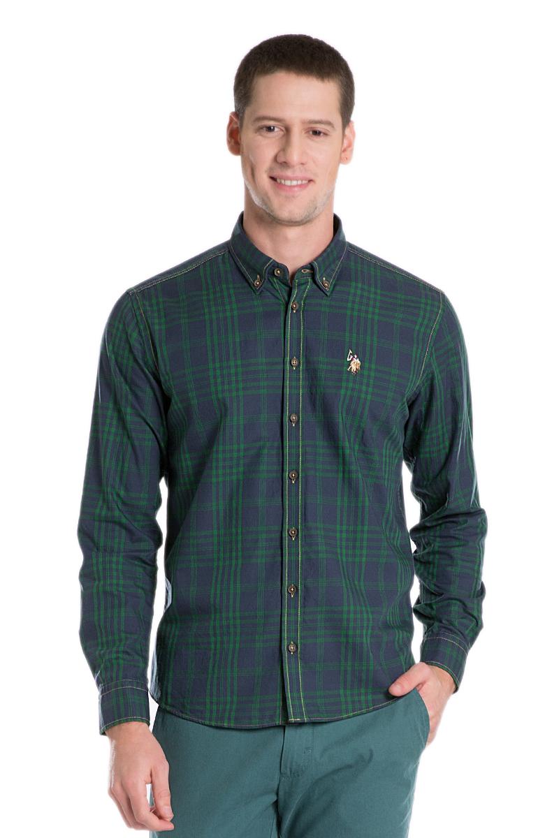 Рубашка мужская U.S. Polo Assn., цвет: темно-синий, зеленый. G081GL004ACTOELMENTE-GL_VR033. Размер M (50)G081GL004ACTOELMENTE-GL_VR033Стильная мужская рубашка с длинными рукавами и отложным классическим воротником выполнена из натурального хлопка. Модель застегивается на пуговицы.