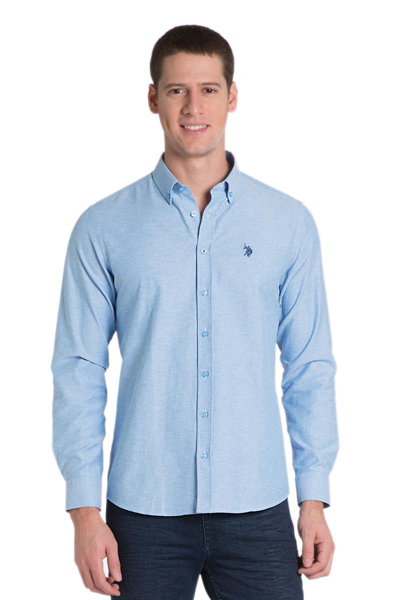 Рубашка мужская U.S. Polo Assn., цвет: синий. G081GL004AVILGOX/16_MV0391. Размер M (50)G081GL004AVILGOX/16_MV0391Стильная мужская рубашка с длинными рукавами и отложным классическим воротником выполнена из хлопкового материала. Модель застегивается на пуговицы.